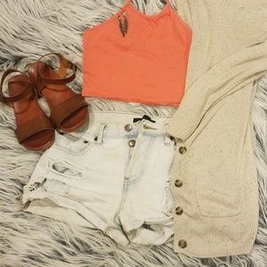Salmon High Neck Tied Crop Top